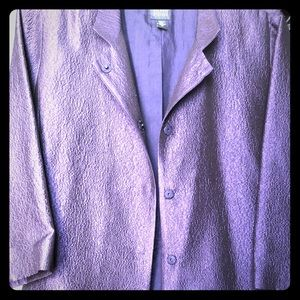 Glamorous Eileen Fisher purple silk jacket.